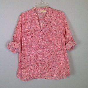 Lucy & Laurel floral top in coral-size 1X